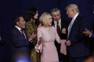 Trump's spiritual adviser called for 'all satanic pregnancies to miscarry.' It was a metaphor, she says.
