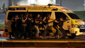 A Thai soldier has killed at least 20 people in a shooting spree, authorities say. He may be at a mall