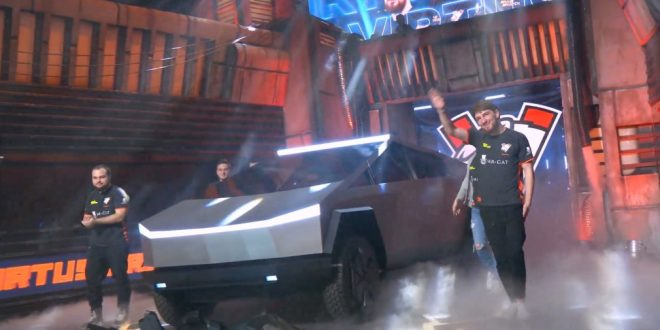 Tesla Cybertruck with laser blade lights shows up at esports Dota 2 game event