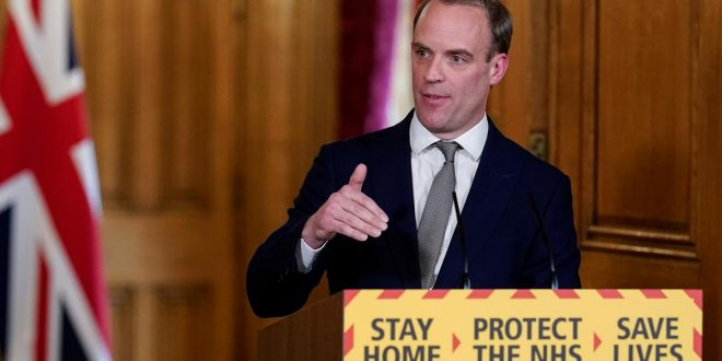 UK confident of hitting 100,000 COVID-19 daily tests target, Raab says