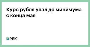 Курс рубля упал до минимума с конца мая